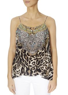 This is the 'Siberia' Leopard Print Embellished Shoestring Cami by the ever-stunning brand, Inoa! Feel flawless in gorgeous colours with this loose-fitting cami featuring. Embellished Top, Loose Tops, Warm Weather, Cami, Knitwear, Ladies Tops, Boho, Tank Tops, Colours