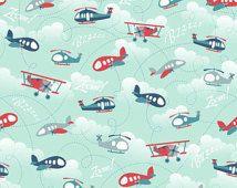 FLY AWEIGH - Airplane - Main in Blue  C-3870 -  Samantha Walker for Riley Blake Designs Fabric - 1 Yard