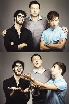Darren Criss, Cory Monteith and Kevin McHale being perfect