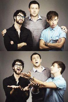 Darren Criss(Blaine Anderson) Cory Monteith(Finn Hudson) Kevin McHale(Artie Abrams)
