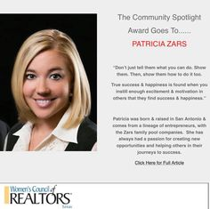 """👊Congratulations to the wifey on receiving the Community Spotlight Award from Woman's Council Realtors Texas for her """"dedication to the industry and community...""""   I'm super proud of her! 👉 https://www.facebook.com/139635824132/posts/10156471306859133/ #PatriciaZars #WomensCouncilOfRealtors"""