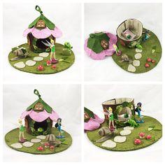 Pink Flower Fairy House Tree Stump Cottage by MyBigWorld2015