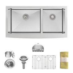 5. Zuhne Turin 36 Farmhouse Apron 60/40 Deep Double Bowl Stainless Steel Luxury Kitchen Sink
