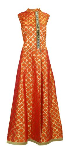 Monarch Orange Brocade Suit with Mirror Work. Sleeveless monarch orange and gold brocade indian suit with mirror work on bodice and slit to the waist. – LuxShoppe.com