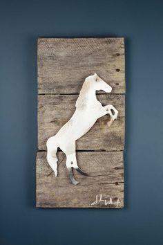 Raring Stallion Reclaimed Wood & Shaped Metal Art