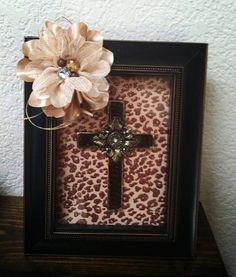 Cross picture Frame/leopard print by Tuturificdesign on Etsy, $25.00