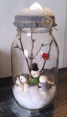 2014 Christmas snow man mason jar snow globe with twigs - Christmas handmade craft #2014 #Christmas