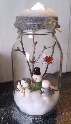 2014 Christmas snow man mason jar snow globe with twigs - Christmas handmade craft #2014 #Christmas