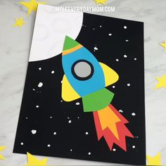 Rocket Craft For Kids - Crafts For Kids - Bee Crafts For Kids, Winter Crafts For Kids, Preschool Crafts, Fun Crafts, Art For Kids, Arts And Crafts, Craft Kids, Art Children, Kids Diy