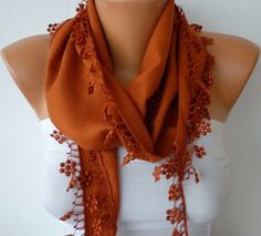 Burnt Umber Scarf   Cotton  Scarf  Headband Necklace by fatwoman, $13.50