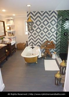 Genevieve Gorder bathroom, beautiful tile focal wall