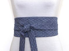 Obi Gürtel   Taillengûrtel mit blau Japanisch Print   Uni blau - Beidseitig  tragbar 822b4227782