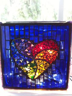 Lighted glass block with stained glass mosaic rainbow heart