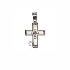Ένας διαχρονικός σταυρός γυναικείος ή βαπτιστικός του οίκου ΤΡΙΑΝΤΟΣ από λευκόχρυσο Κ14 σε ματ φινίρισμα #τριαντος #γυναικειος #βαφτιση #λευκοχρυσο #σταυρος