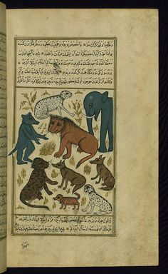 Turkish version of the Wonders of creation, The lion king surrounded by his subjects, Walters Manuscript W.659, fol. 267b by Walters Art Museum Illuminated Manuscripts