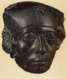 Head of king's statue (Senusret III or Amenemhat III), so-called 'head of MacGregor'. Egypt, Middle Kingdom, 12th dynasty, Obsidian. Museum Calouste Gulbenkian.