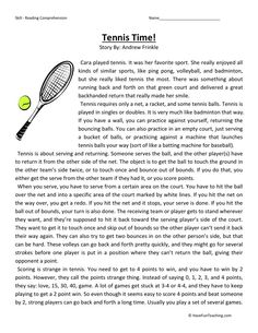 Fifth Grade Reading Comprehension Worksheet - Tennis Time ...
