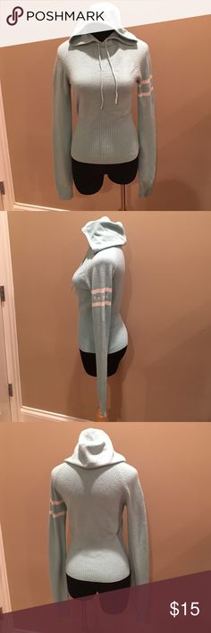 """bebe hoodie long sleeve sweater Tiffany green SZ M bebe hoodie long sleeve sweater Tiffany green SZ M, made in China, bust 38""""-48"""", sleeve length 26"""", from back of hoodie to bottom hem 22"""", bebe logo laid horizontal on left sleeve, All offers are negotiable. bebe Sweaters"""