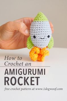 Free Crochet Pattern For An Easy Amigurumi Rocket. Ideal For The Space Lover In Your Life This Is Part Of The Amigurumi Advent Calendar Crochet-Along At Crochet Simple, Quick Crochet, Cute Crochet, Crochet For Dogs, Crochet Geek, Crochet Amigurumi, Crochet Dolls, Crochet Patterns For Beginners, Crochet Patterns Amigurumi