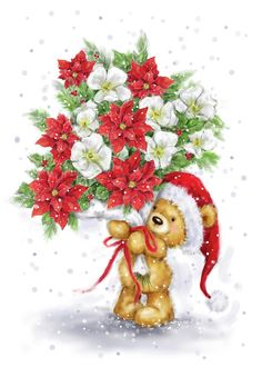 Christmas Flowers, Noel Christmas, Christmas And New Year, Christmas Crafts, Christmas Decorations, Christmas Ornaments, Christmas Drawing, Cute Bears, Christmas Pictures