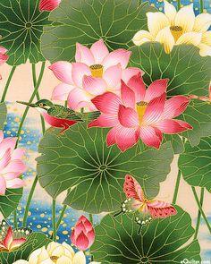 'Sanctuary' collection by Kona Bay Fabrics. Lotus Painting, Silk Painting, Korean Art, Asian Art, Chinese Painting, Chinese Art, Watercolor Flowers, Watercolor Art, Lotus Art