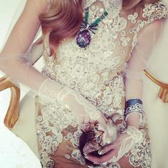 Kitten with dress and gloves by Valentino Couture and jewellery by Fabergé. 20th April 2012