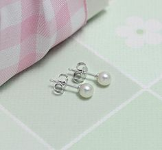 White Gold & Pearl Earrings