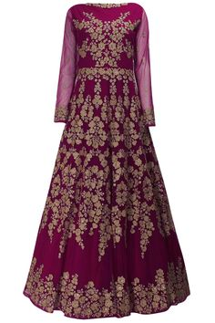 Magenta fully embroidered gown kurta and dupatta available only at Pernia's Pop Up Shop.