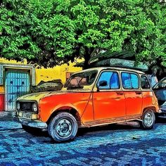 Renault 4 by Cartoon Car Drawing, Car Drawings, Illustrations, Illustration Art, France, First Car, Fiat 500, Car Ins, Real Madrid