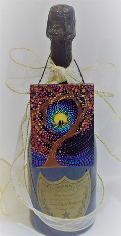 Holiday Special, Artful Ornaments, Wine Bottle Decor, Mini Dot Painting, Wood, Christmas Ornament, Gift Ornament, 3x4 inch Hanging Art by KailasCanvas on Etsy, Art by Kaila Lance, Dot Mandala, Dot Painting, Mandala Art, Sacred Geometry Art, Painted Stones, Mandala Stones, Meditation Stones, KailasCanvas.Etsy.com