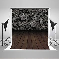 Kate 5x7ft Gear Pattern Wood Floor Backdrops Photography Studio Foldable Washable Cotton Photo Backgrounds J03844