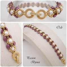 Bracelet entièrement réalisé à la main.  Dans les tons burgundy, nacre et or   Composé de diverses sortes de perles dont entre autre les très belles toupies Swarovski.   - 14653407