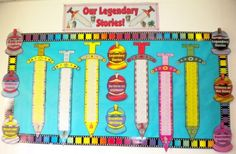 "Writing Myths Elementary Students Creative Writing Templates {Borrow from this concept to create advancement charts to take the ""swords"" to completion at the end of 3 years - Patrol = Kingdom/Courageous Knights} Teaching Displays, School Displays, Classroom Displays, Ks2 Classroom, Classroom Themes, Google Classroom, Primary Teaching, Teaching Resources, Teaching Ideas"