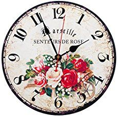 Retro Vintage RED Rose Senteurs Flowers Printed Wall Clock Wooden Home Decor Large White Wall Clock, White Wall Clocks, Wall Clock Wooden, Wood Wall, Wooden Desk, Paris Wall Decor, Paris Wall Art, Wall Art Decor, European Home Decor