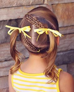 Diagonal Braids into Pigtails • I've done many variations of this style and I love them all. This style looks darling and stays or all day.…