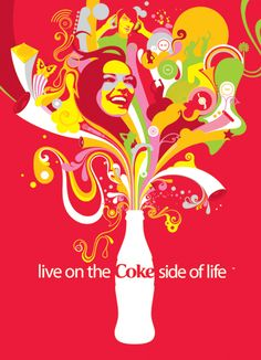 Created by Steve Wilson, done for the drinks brand coca cola, it was part of the live on the coke side of life project, I loved the edited typography that has been used and the lines and curves that have made up the impression of an explosion which I think is amazing, all the colours that have been used and they all complement each other.