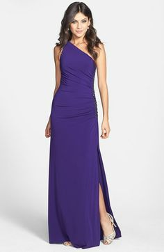 Laundry by Shelli Segal Beaded Panel One-Shoulder Jersey Gown available at #Nordstrom....how about this one?  in navy