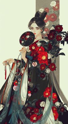 "ziseviolet:"" "" 美人画""Paintings of beauties in traditional Chinese hanfu, by Chinese artist 伊吹鸡腿子. Artist's Weibo: X. See more of her work here. Geisha Kunst, Geisha Art, Art And Illustration, Botanical Illustration, Art Illustrations, Anime Art Girl, Manga Art, Japonese Girl, Character Art"