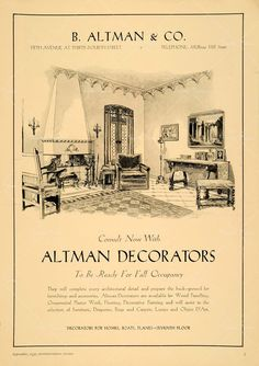 Vintage Ad  B. Altman and Co.Telephone MURray 7000  <> Consult now with . . To Be Ready for Fall <> Decorators for Homes, Boats, Planes Library of Congress