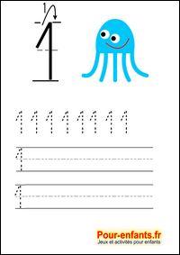 Apprendre à écrire les chiffres en maternelle gratuit cahier d'écriture à imprimer gratuitement Savoir écrire 1 un