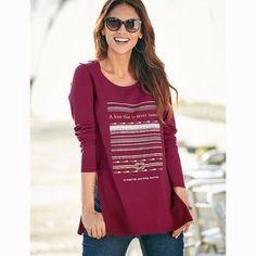 Tee-shirt fendu imprimé manches longues femme Exclusivité 3SUISSES - Rouge  Grenat 3 Suisses Femme 14287c370c6