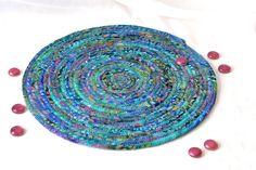 FREE Shipping..... Artisan Batik Place Mat Handmade Blue Fabric Hot Pad