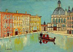 Venecia- Escena del canal con una Iglesia
