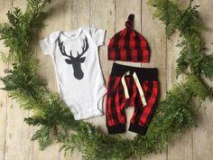 Newborn Boy Take Home Outfit / Newborn Boy Coming Home Outfit / Newborn Deer Plaid Outfit // Deer Head Clothing Set // by anUPdesign on Etsy https://www.etsy.com/listing/269004527/newborn-boy-take-home-outfit-newborn-boy