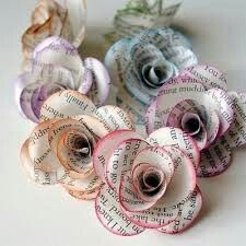 Cute flowers made out of news paper