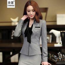2016 Nova Outono inverno Coreano moda feminina Com Decote Em V ternos saia carreira Revestimentos do revestimento do blazer e saia do escritório OL cinza plus size conjuntos(China (Mainland))