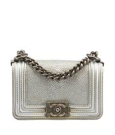 Chanel Stingray Mini Boy Silver Leather Shoulder Bag