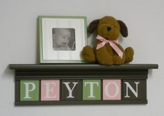 Pink Green Nursery Wall Art  Children Name Nursery by NelsonsGifts