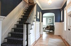 Wonderful Summer Style Home Designs: Navy Foyer With Staircase Patterned Floor Summer Style Home