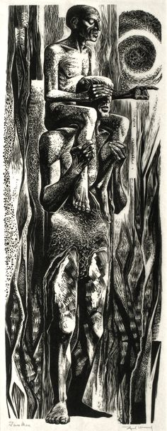 Two Men. Wood engraving by Lynd Ward.